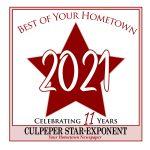Best of your Hometown 2021 award badge